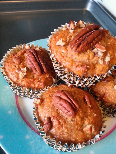 Nutty banana muffins. Look at these beauts!