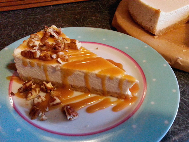 Very lazy, slightly healthy, banana cottage cheesecake dressed with toffee sauce and chopped pecans!